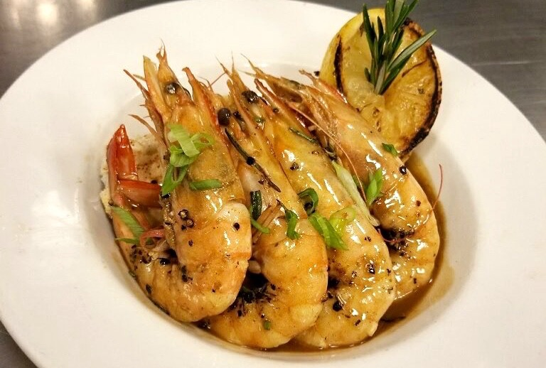 Barbecue shrimp is a typical dish in Louisiana, seen her at Palace Cafe.